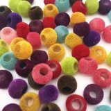 6x8mm Multi Velvet Barrel Shape Pony Beads Flocking Plastic Spacer Craft Bead For Hair Braids Jewelry Making Pack of 500