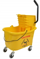 Mop Bucket & Side Press Wringer, 35 Gal, Yellow