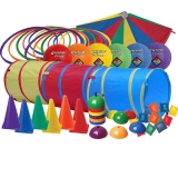 Preschool Physical Active Play Set,  Includes Playground balls, Bean Bags,  Cones, Hoops, Parachute and Tunnel