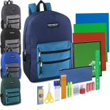 19 Inch Backpack & 18 Piece School Supply Kit - 12 Sets
