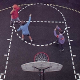 Basketball Court Stencil with Paint Roller 13' x 21'