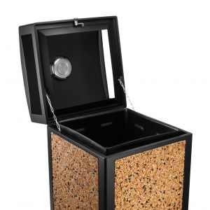 Alpine Industries Rugged 40-Gallon All-Weather Trash Containers with Stone Panels and Ash Tray