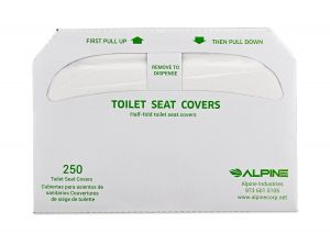 Alpine Industries ALPP400 Flushable Toilet Seat Covers in 3, 250-sheet packs