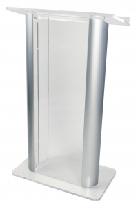 "Clear Contemporary Alumacrylic Lectern w/ 2 Black Anodized Aluminum Posts (27"" Wide)"