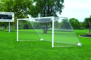4mm White Soccer Net with Top Depth, 21'W x 7'H x 4' Top Depth x 7' Bottom Depth