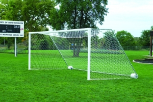 4mm White Soccer Net with Top Depth, 24'W x 8'H x 4' Top Depth x 10' Bottom Depth