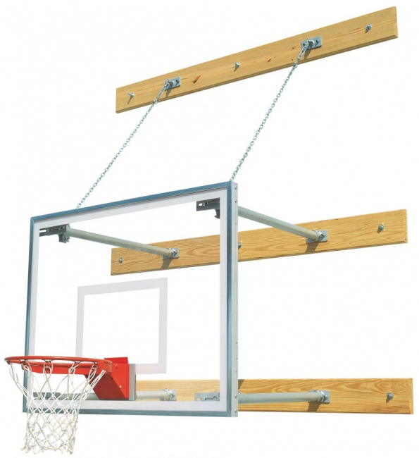 "Stationary 1'-4' Gymnasium Basketball Package, 42"" x 72"" Glass Backboard"