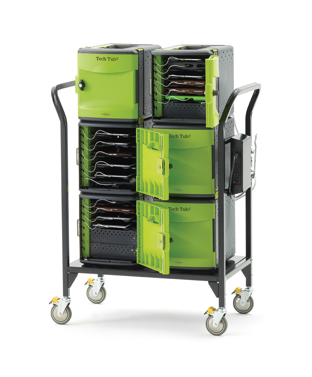 Modular Cart with 6 Premium TechTubs . Holds 32 devices