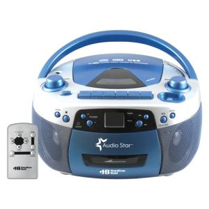 AudioStar Boombox Radio, CD, USB, Cassette Player with Tape and CD to MP3 Converter