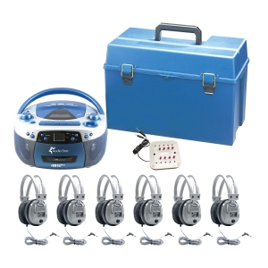 6 - Person - USB, CD & Cassette Listening Center includes 1- MPC5050Plus Boom Box, 1 - 8 Position Jack Box with volume control, 6 -SC-7V Deluxe Headsets, 1 - HMC Plastic carry case