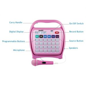 Juke24 - Portable, Digital Jukebox with CD Player and Karaoke Function - Pink