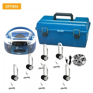 6 - Person - USB, CD & Cassette Listening Center includes 1- 5050ULTRA Boom Box, 1 - 8 Position Jack Box with volume control, 6 -SC-7V Deluxe Headsets, 1 - HMC Plastic carry case