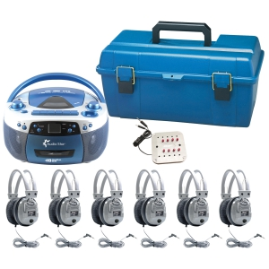 6 Person - USB, CD & Cassette Listening Center includes: 1- MPC5050Plus Boom Box, 1 - 8 Position Jack Box with volume control, 6 -SC-7V Deluxe Headsets, 1 - LCP Plastic carry case for headphones and jack box