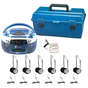 6 Person - USB, CD & Cassette Listening Center includes: 1- MPC5050Plus Boom Box, 1 - JBP/8VA 8 Position Jack box, 6 -HA2V Personal Headsets, w/ Volume Control, foam ear cushions, 1 - LCP Plastic carry case for headphones and jack box