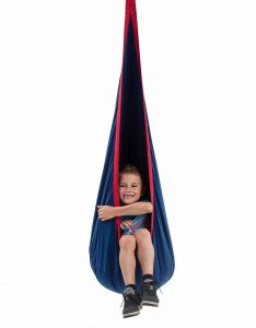 Children's Pod Swing - Indoor Sensory Swing Includes All Hardware for Hanging, Blue/Red
