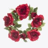 EVERYDAY CANDLE RING ROSE LEAF RED 6 INCHES