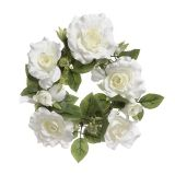 EVERYDAY CANDLE RING ROSE LEAF WHITE 6 INCHES