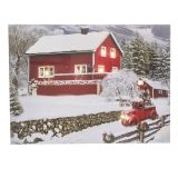LIGHTD CANVAS SNOW BARN 24X16IN LED TIMER 2 AA BATTERY