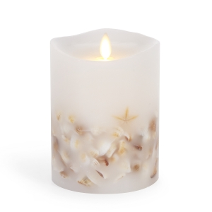 Luminara Flameless Pillar Candle with Seashells - White Wax - 4 x 5 inches