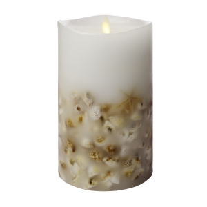 Luminara Flameless Pillar Candle with Seashells - White Wax - 4 x 7 inches