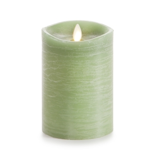 Luminara Rustic Green Flameless Pillar Candle w/Vanilla Scent - 3.5 x 5 in
