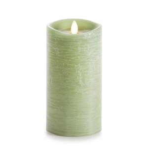 Luminara Rustic Green Flameless Pillar Candle w/Vanilla Scent - 3.5 x 7 in