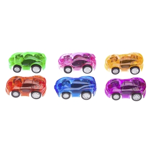 Transparent Pullback Cars: Plastic - Assorted Colors - 1.875 inches - 6 pieces