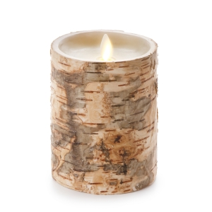 Luminara Unscented Flameless Pillar Candle Embedded w/Birch - 4 x 5 in