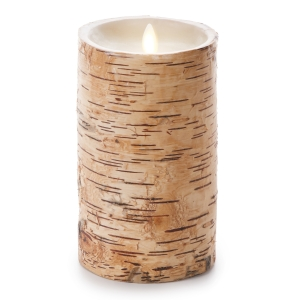 Luminara Unscented Flameless Pillar Candle Embedded w/Birch - 4 x 7 in