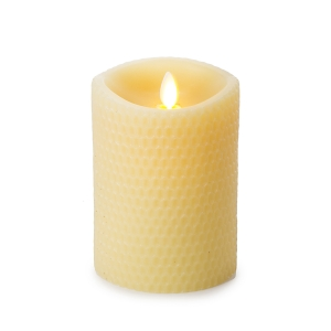Luminara Flameless Yellow Beeswax Textured Pillar Candle - 3.5 x 5 inches
