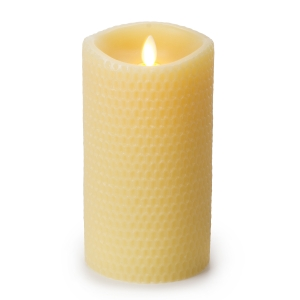 Luminara Flameless Yellow Beeswax Textured Pillar Candle - 3.5 x 7 inches