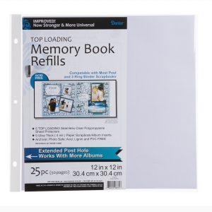 Photo Album Page Protector Refills - 3-Hole Punched - 12 x 12 inches - 25 Pieces