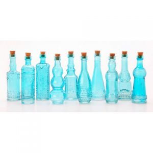 GLASS BOTTLES BLUE WITH CORK 5 INCHES 70 ASSORTED