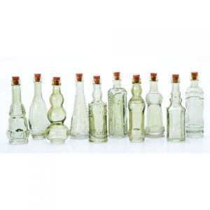 GLASS BOTTLES GREEN WITH CORK 5 INCHES 70 ASSORTED