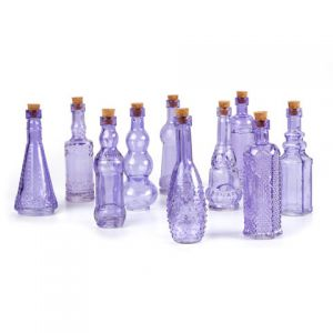 GLASS BOTTLES PURPLE WITH CORK 5 INCHES 70 ASSORTED