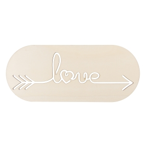 Laser Cut Wood - Love Plaque - Round Rectangle - 14 x 6 inches