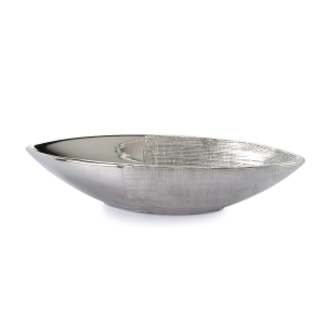 Ceramic Bowl: Embossed Silver, 12.79 x 2.55 inches