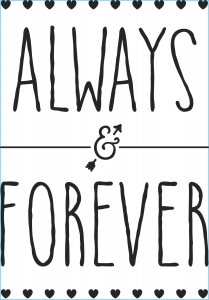 Darice Iron-On Transfer - Always and Forever - Black - 6.75 x 9.75 inches