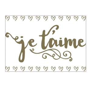 Darice Iron-On Transfer - Je T'aime - Gold - 6.75 x 9.75 inches