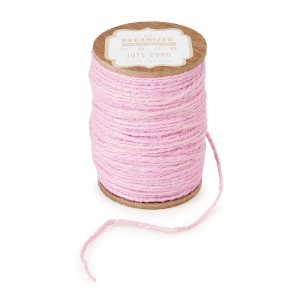 Get Organized Spool of Colored Jute Twine - Light Pink Cord - 200 feet