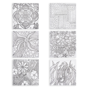 Darice Coloring Canvas for Adults - 12 x 12 - 6 Assorted Styles