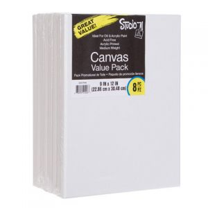 VALUE PACK STRETCHED CANVAS 9X12 8PK