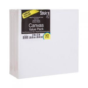 VALUE PACK STRETCHED CANVAS 12X12 7PK