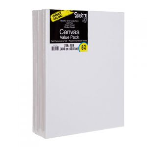 VALUE PACK STRETCHED CANVAS 12X16 6PK