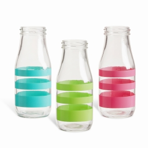 Glass Milk Bottle: Stripe, 2.36 x 6.1 inches, 3 Asst Colors