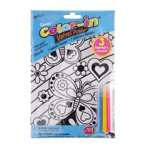 Foamies Velvet Butterfly Coloring Poster: 6 x 9 inches, 3 Mini makers