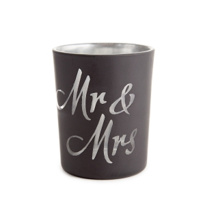 Victoria Lynn Two-Toned Black & Silver Mr & Mrs Candle Holders