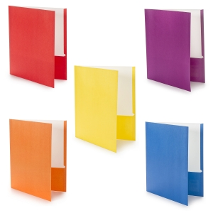 Creative Colors Two-Pocket Portfolios - Paper - Asst Colors