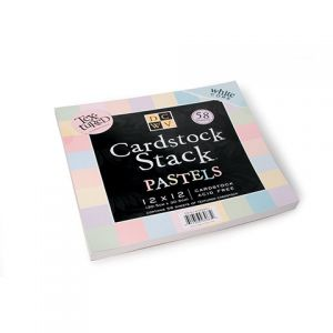 CARDSTOCK STACK PASTELS 12X12 58SH TEXTURED WITH WHITE CORE