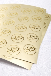 Victoria Lynn Foil Envelope Seals - Double Heart - Gold - 50 pieces